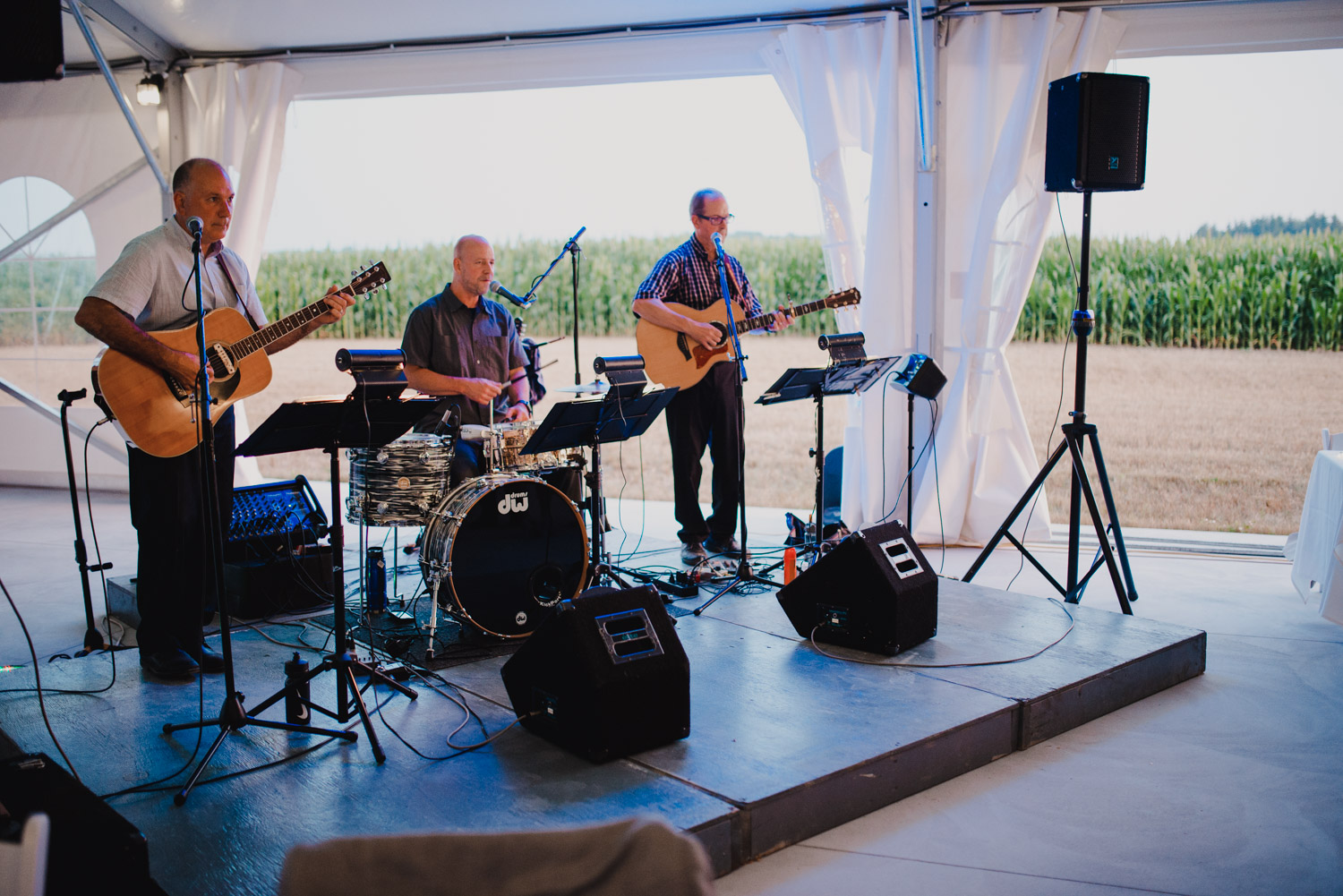 A live band performs for the bride and grooms first dance